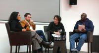 Diskussionsteilnehmer*innen sitzen auf dem Podium, Quelle: DTF
