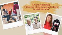 3 Bilder im Polaroidformat: 1. 4 Frauen, die sich unterhalten, 2. ein lachender Mann mit Brille spricht mit einem Senior, 3. Videokameraausschnitt mit Frau, Quelle: DTF Stuttgart