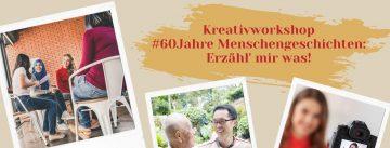 3 Bilder im Polaroidformat: 1. 4 Frauen, die sich unterhalten, 2. ein lachender Mann mit Brille spricht mit einem Senior, 3. Videokameraausschnitt mit Frau